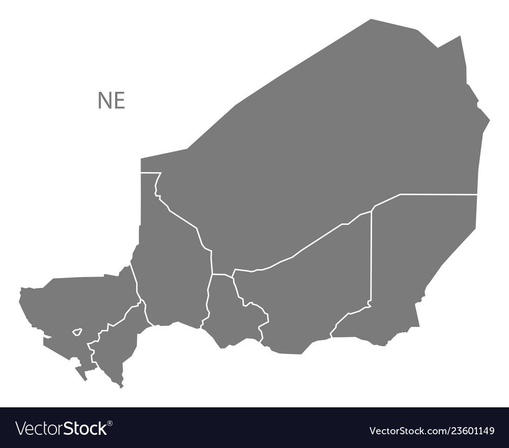 Niger regions map grey