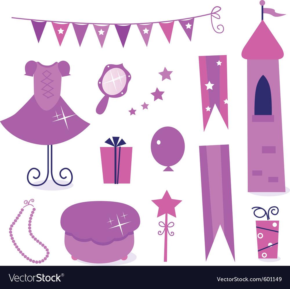 Princess party elements vector image