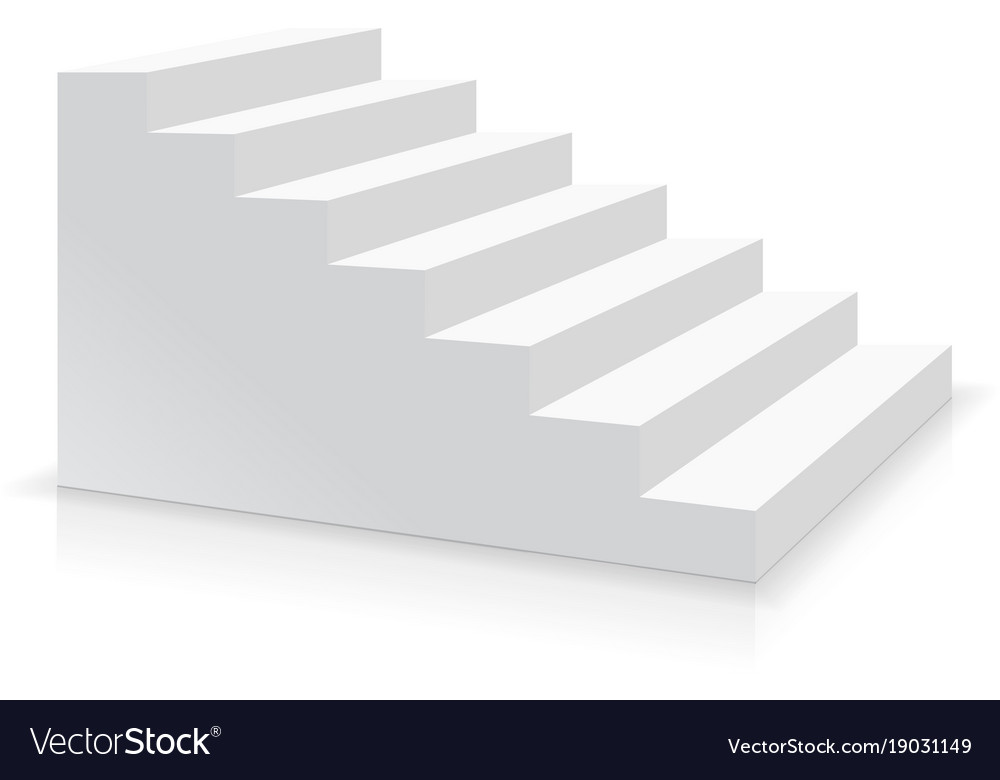 Realistic white stair side view