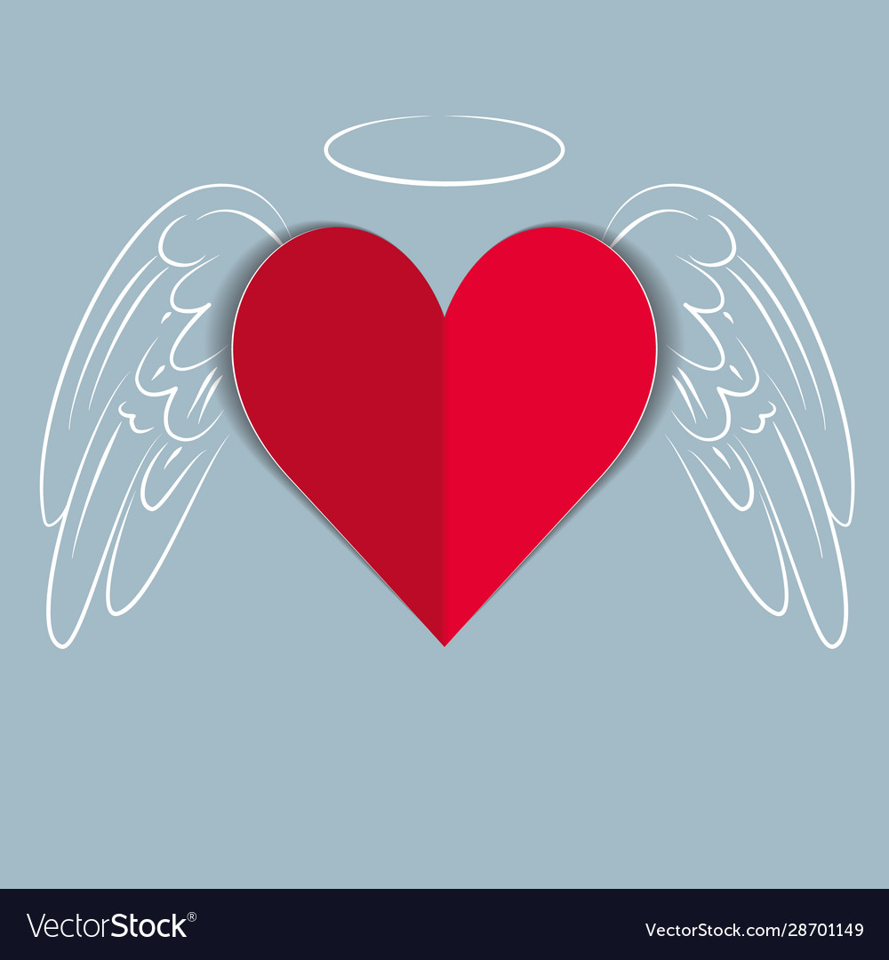 Red paper love heart with hand drawn wings and