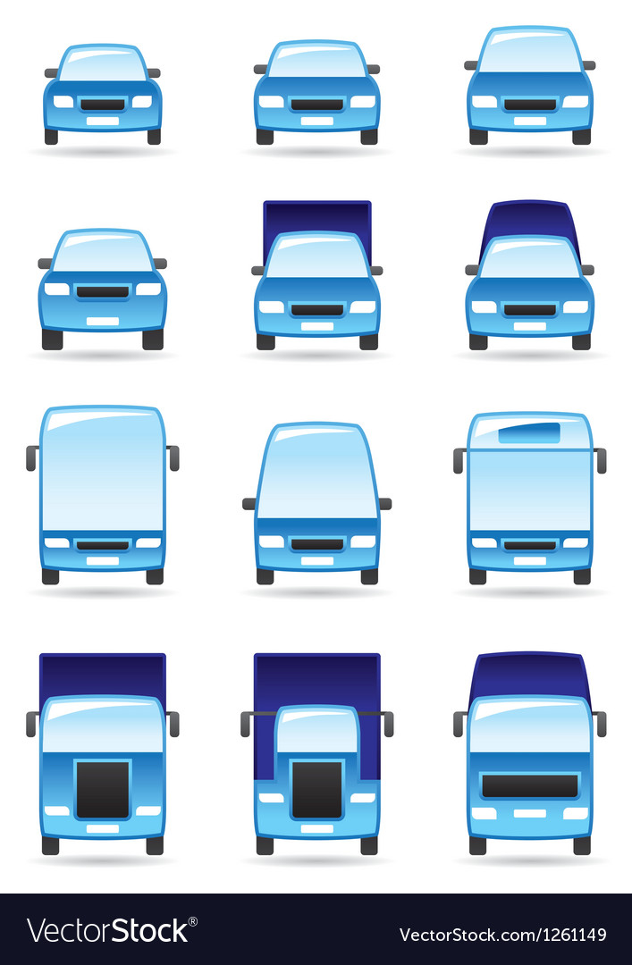 Road transport icons set