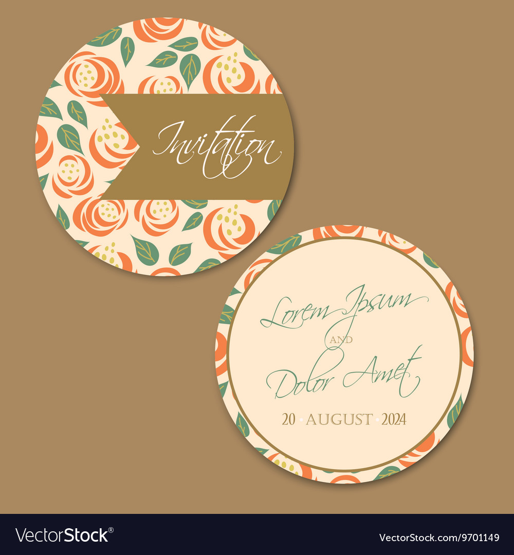 Round Wedding Vintage Invitation Card