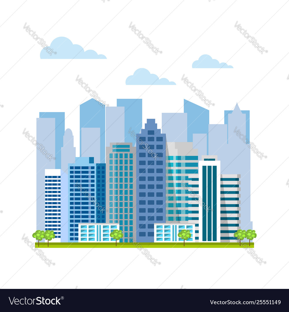 Urban landscape city buildings and skyscrapers