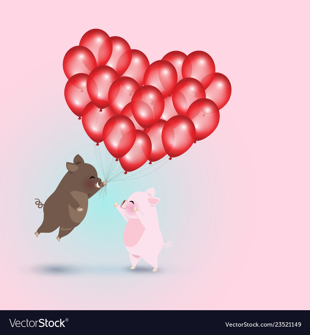 Wild boar with red balloons and pig
