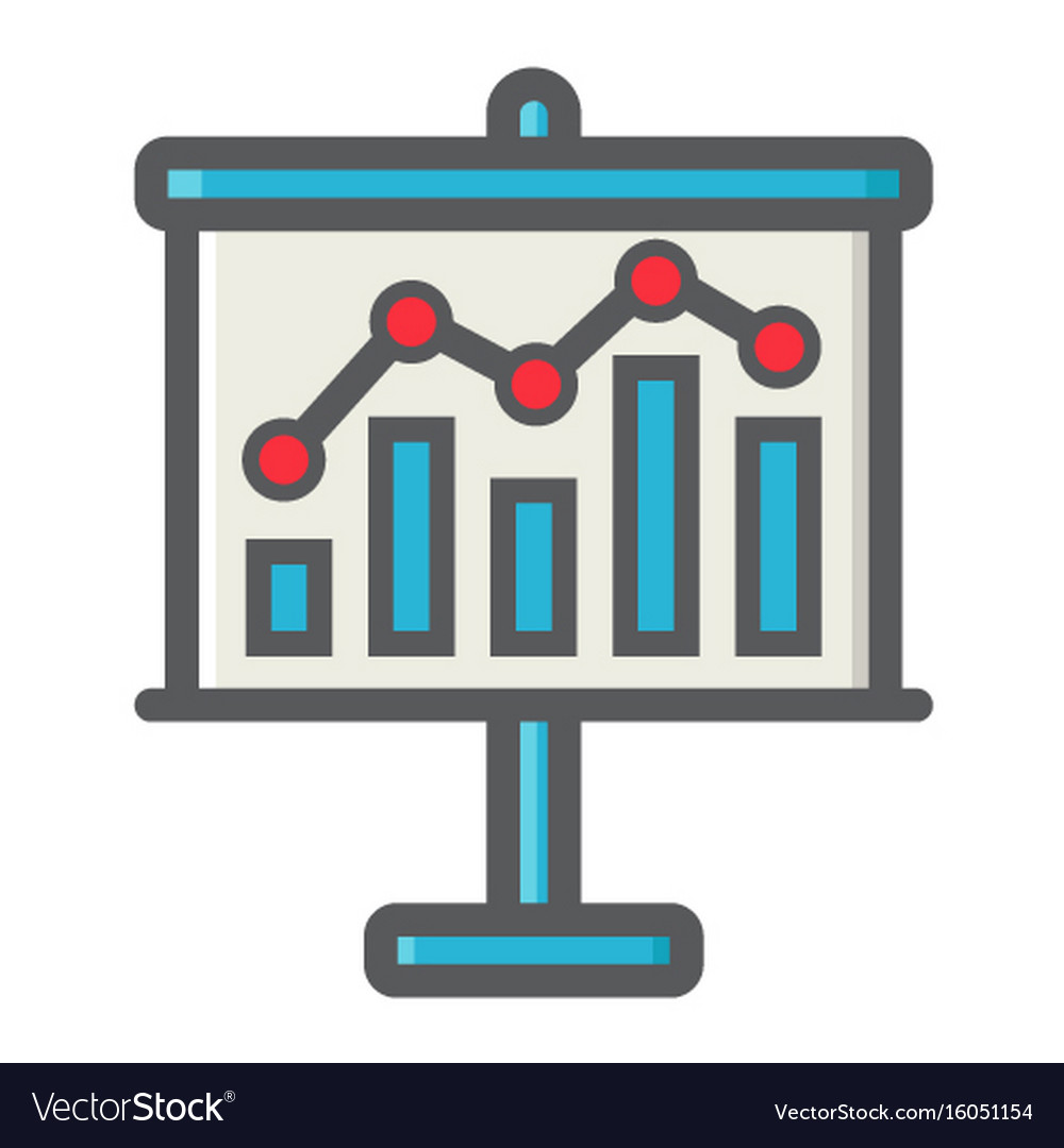 Business growing chart on board colorful line icon vector image