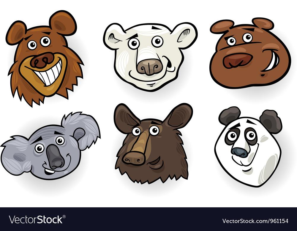 cartoon bears heads set royalty free vector image rh vectorstock com cartoon polar bear images cartoon grizzly bear images