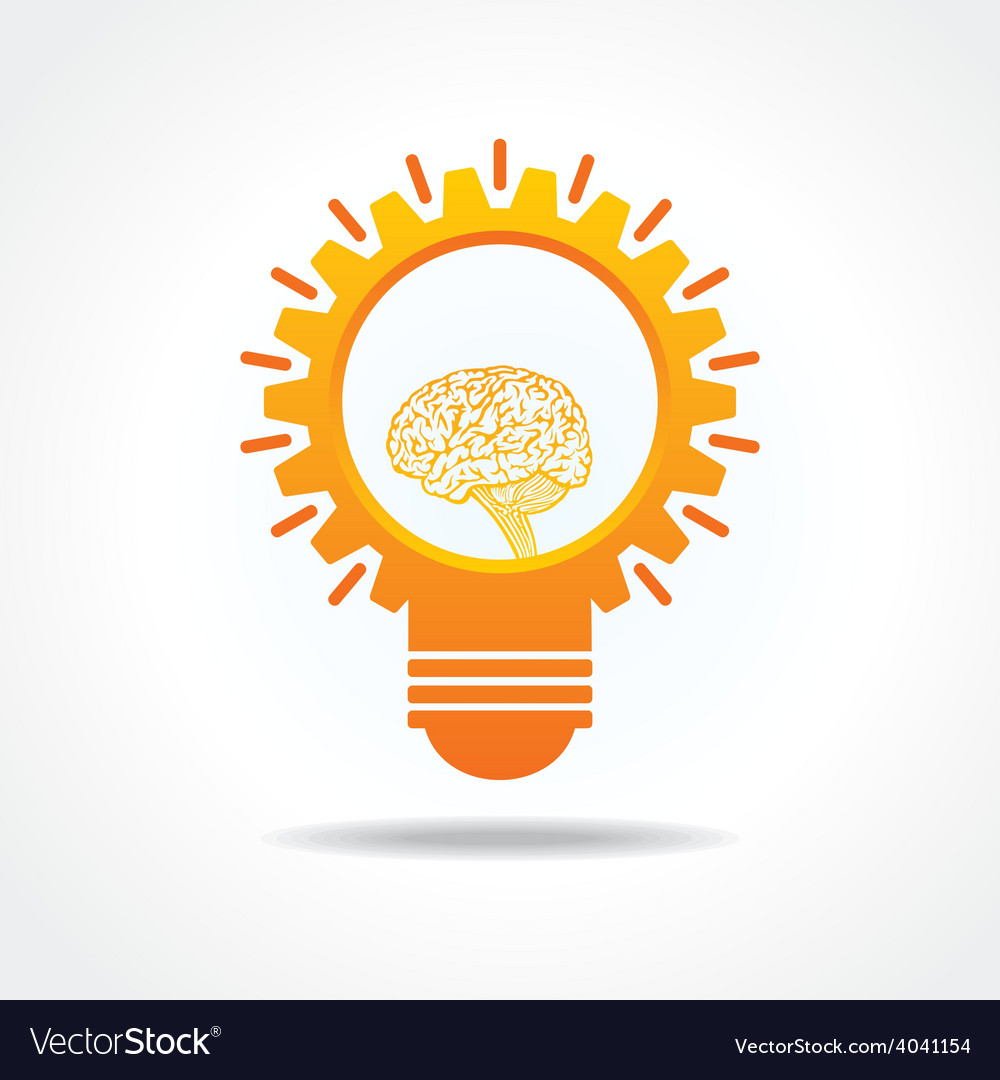 Creative Idea Concept-lightbulb with gear and mind vector image