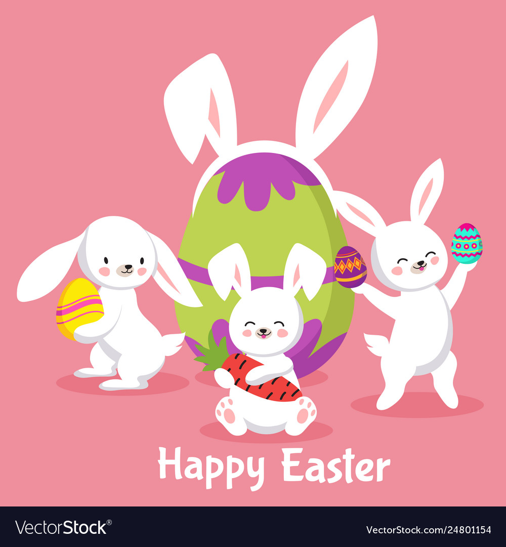 Easter background with cute cartoon bunnies