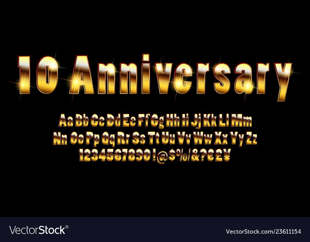 Elegant golden 10 anniversary celebration