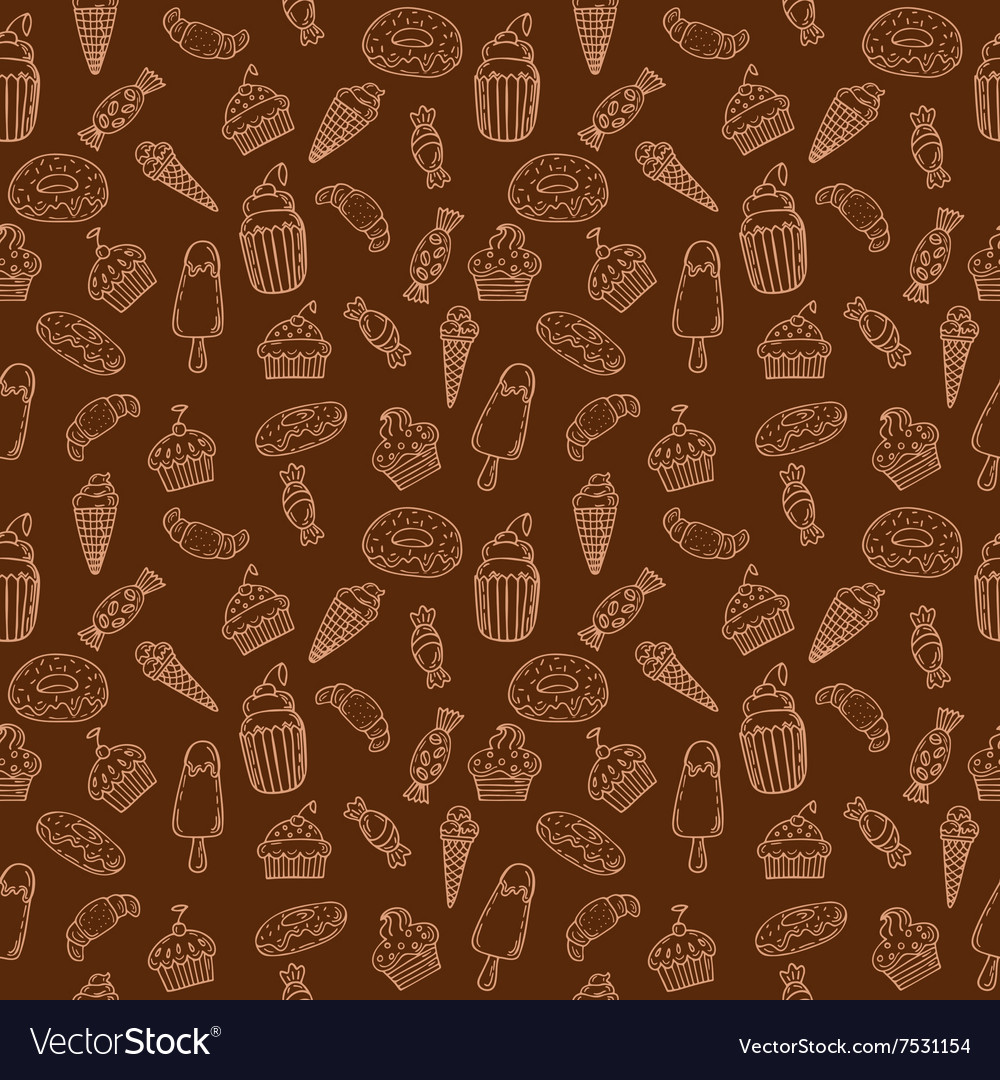 Hand drawn seamless pattern with cupcakes sweets