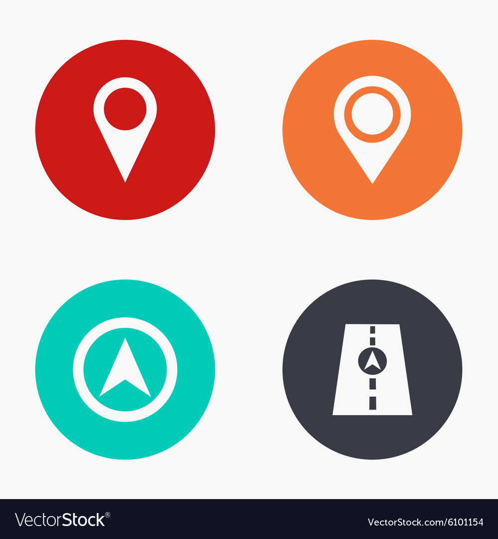 Modern map pointer colorful icons set