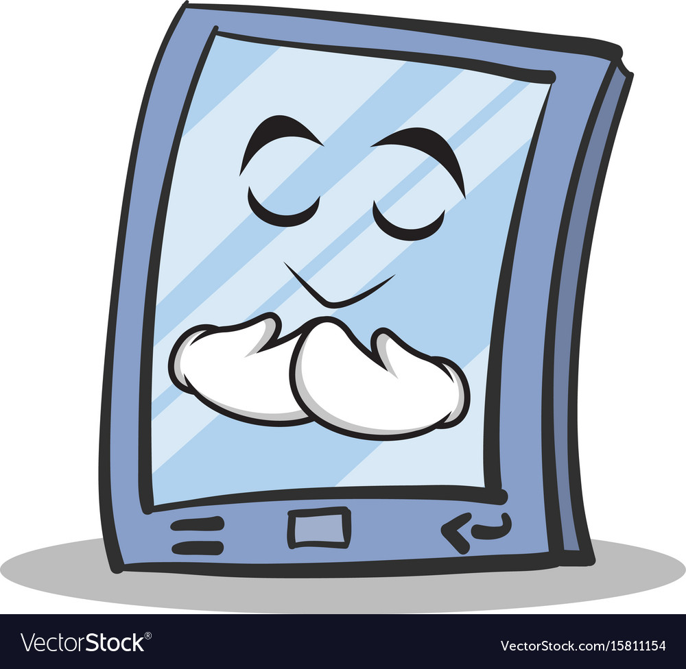 Praying face tablet character cartoon style vector image