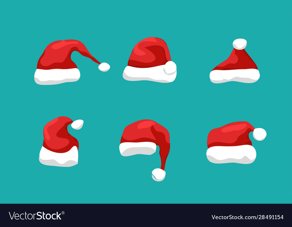 Santa hat christmas flat isolated