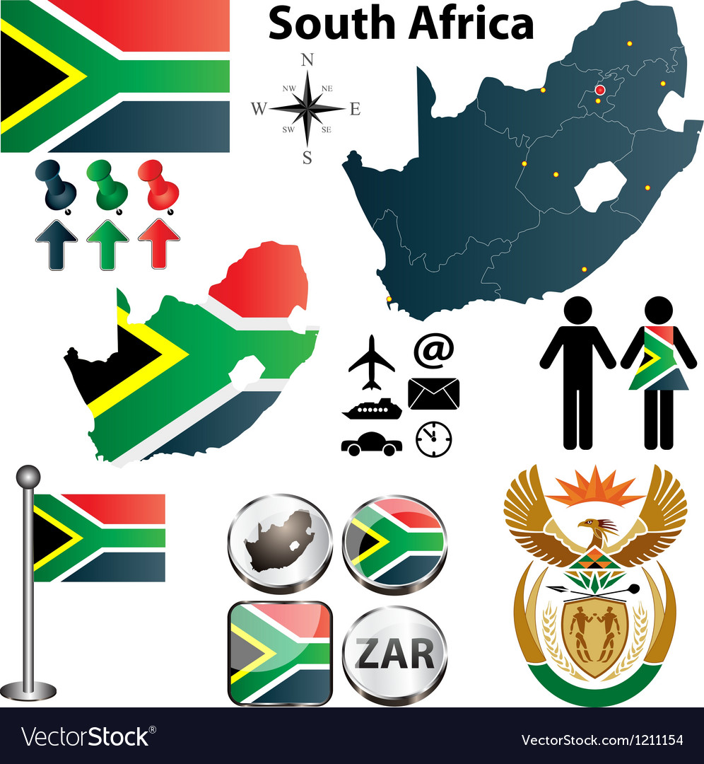 South Africa map with regions vector image