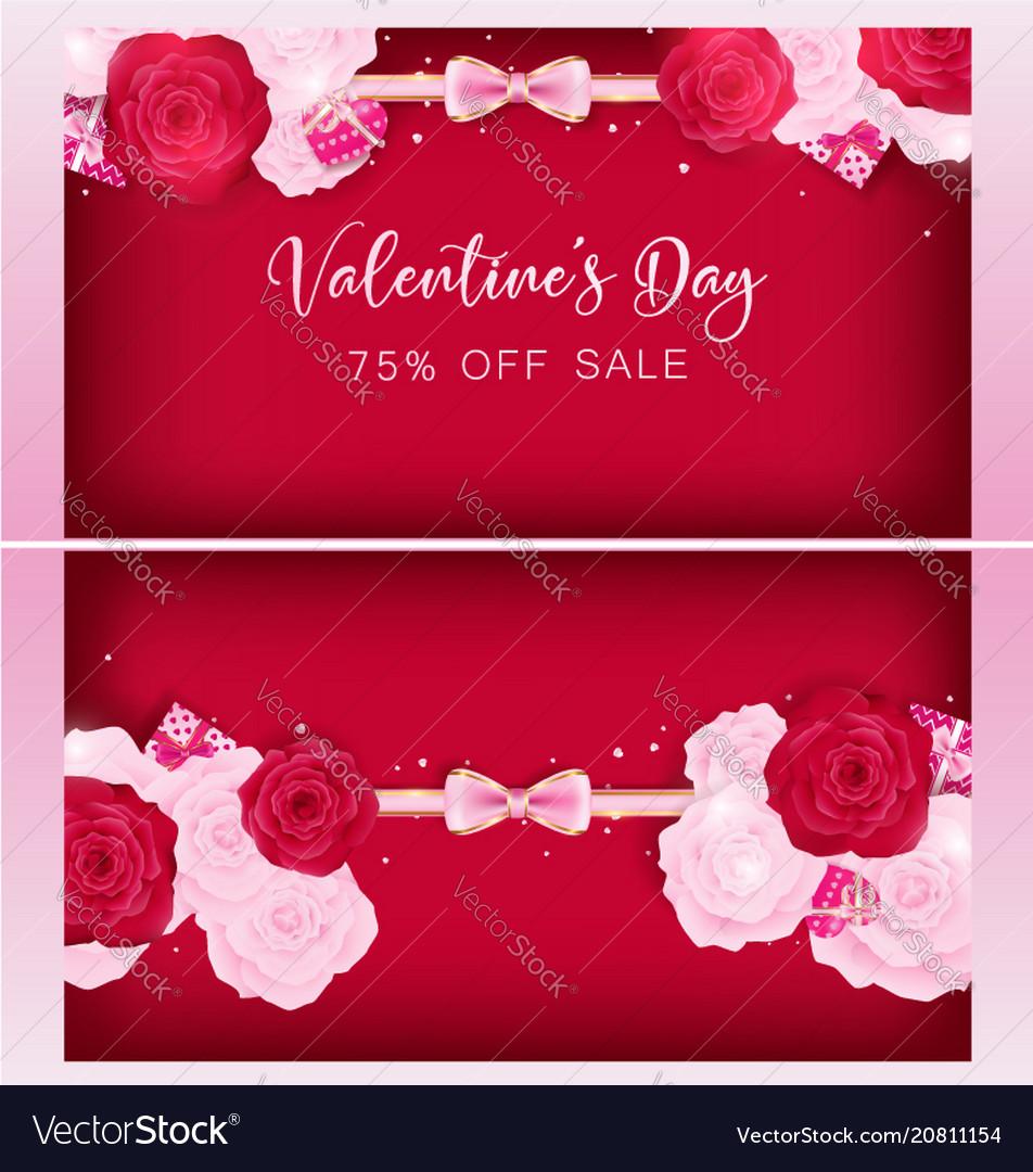 Top view valentine floral invitation card