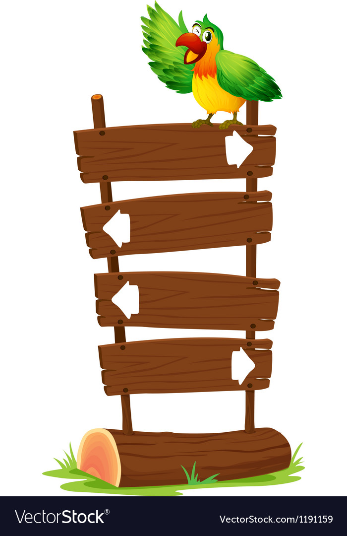 A colorful parrot at the top of a wooden signboard vector image
