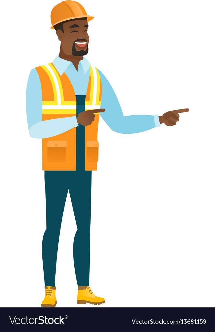 African-american builder pointing to the side