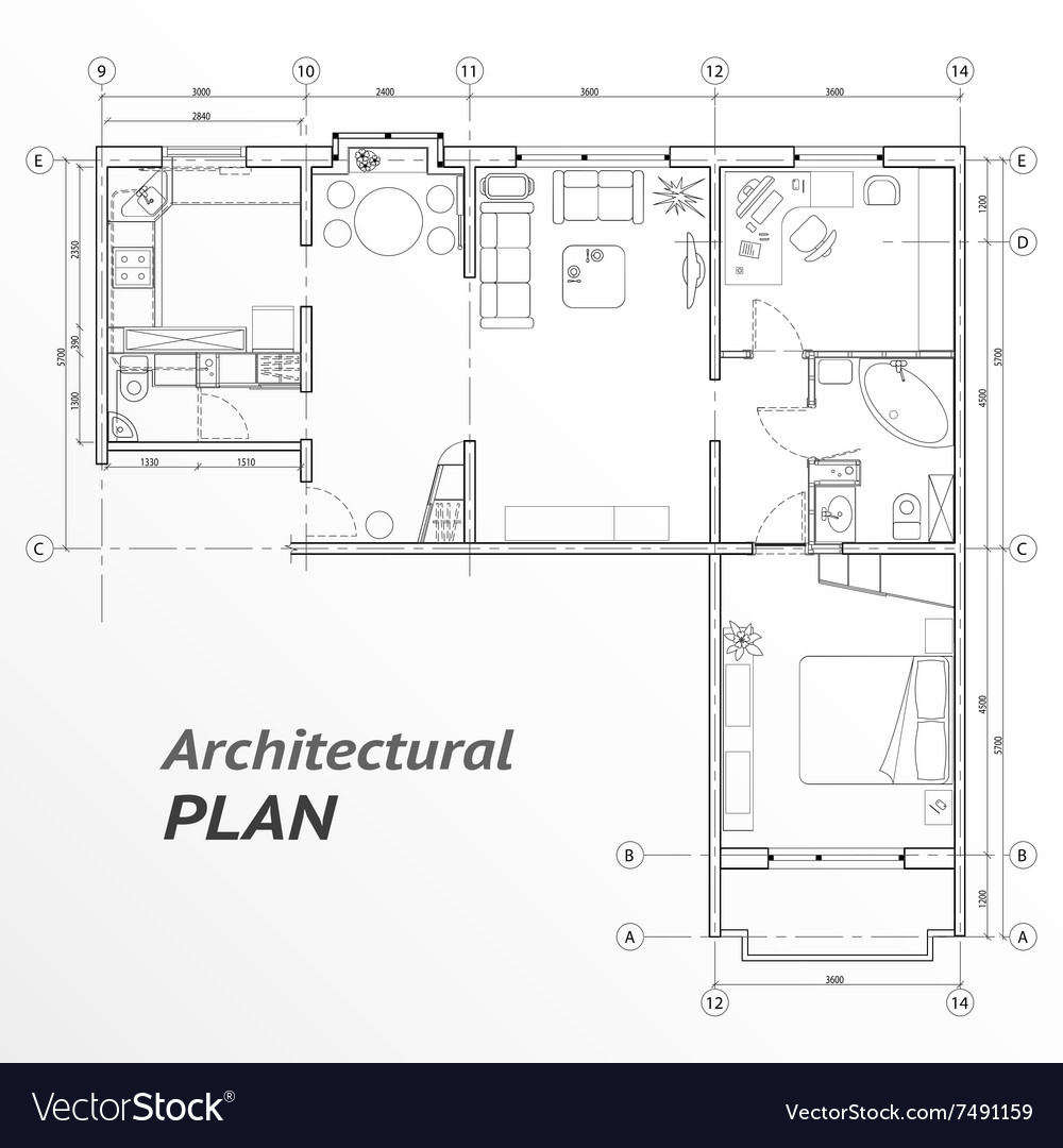 Architectural set of furniture on apartment plan