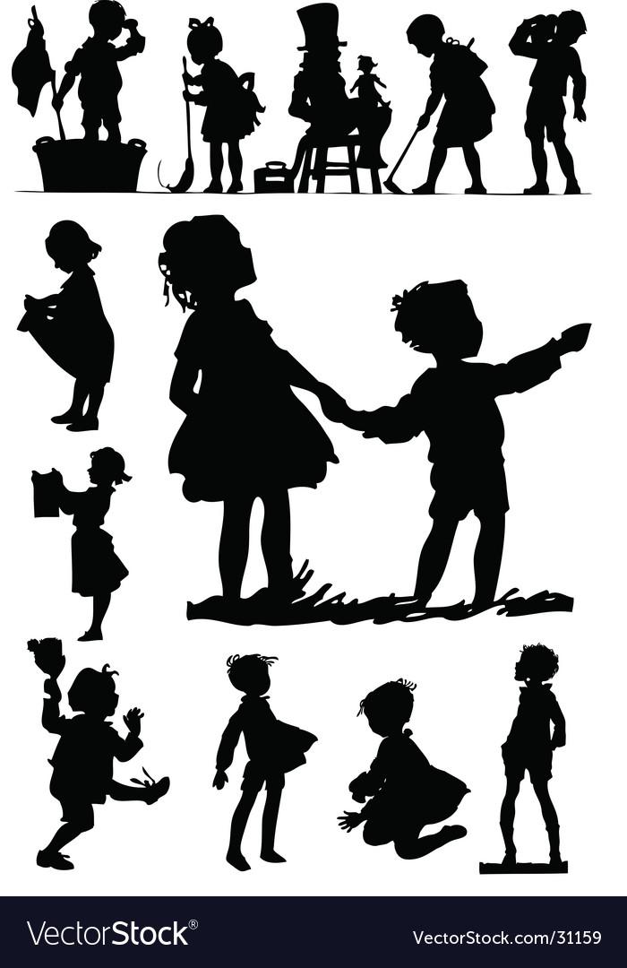 Children silhouettes vector image