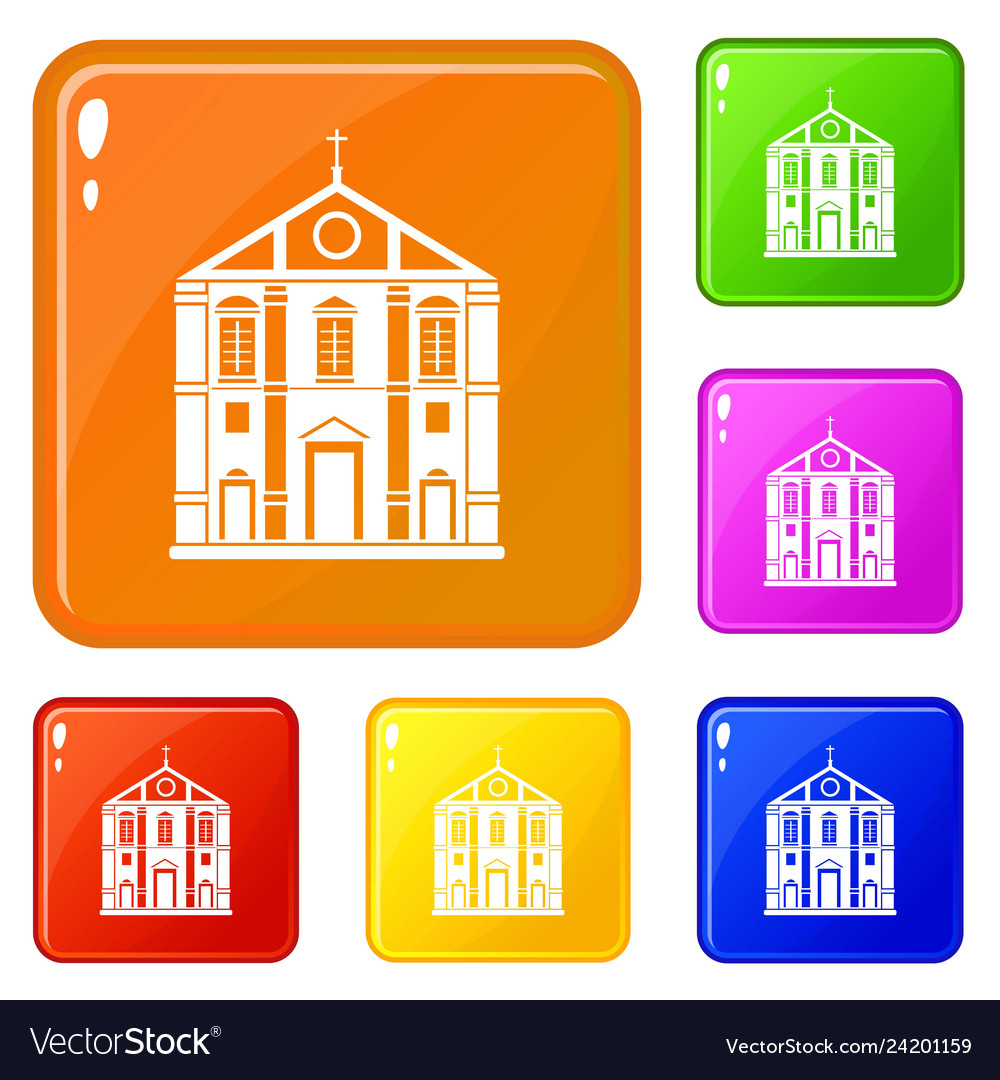 Church icons set color
