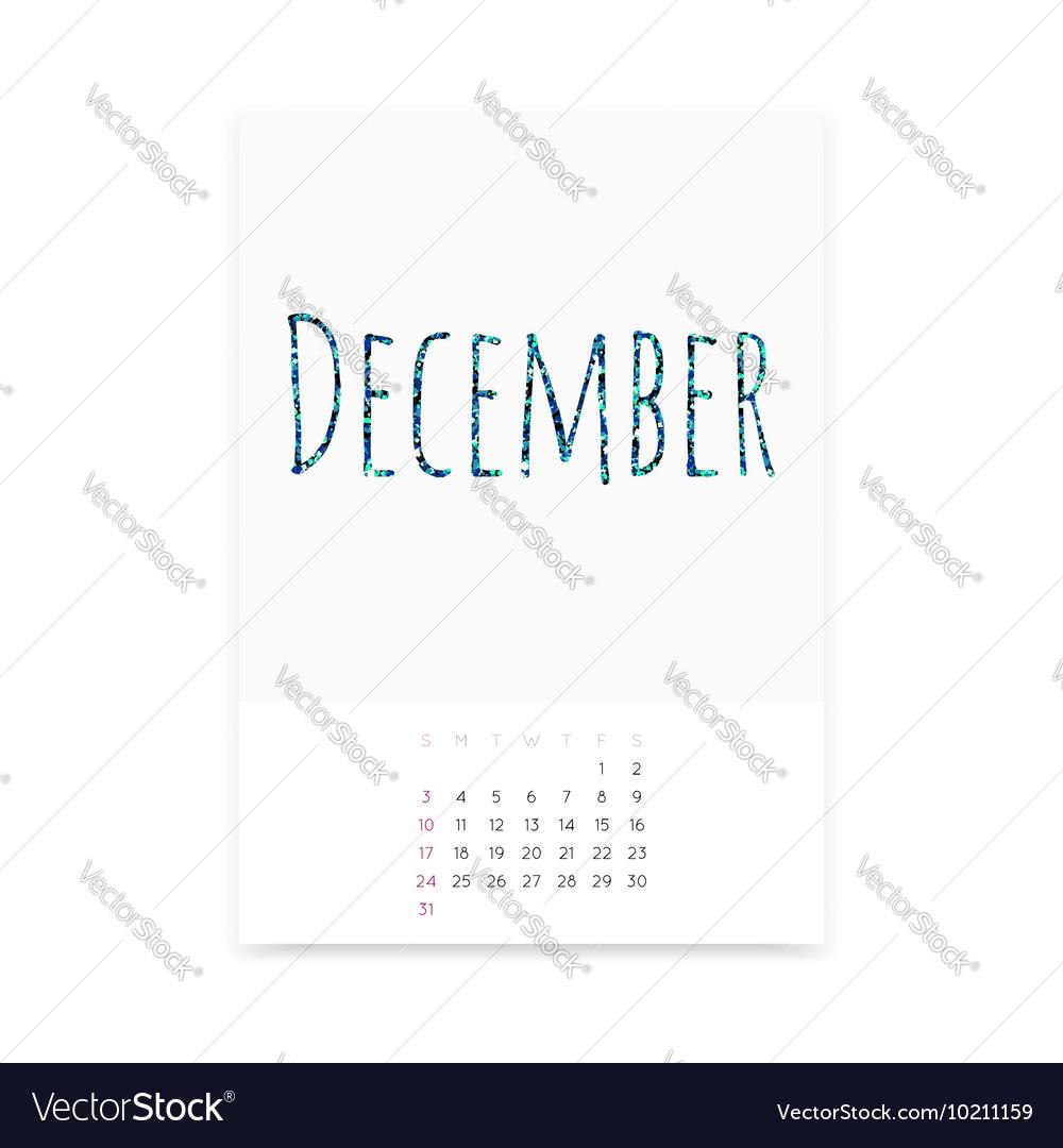December 2017 Calendar Page