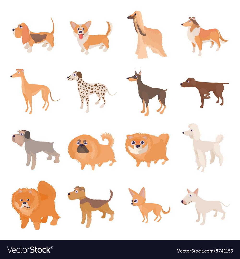 Dog icons set cartoon style