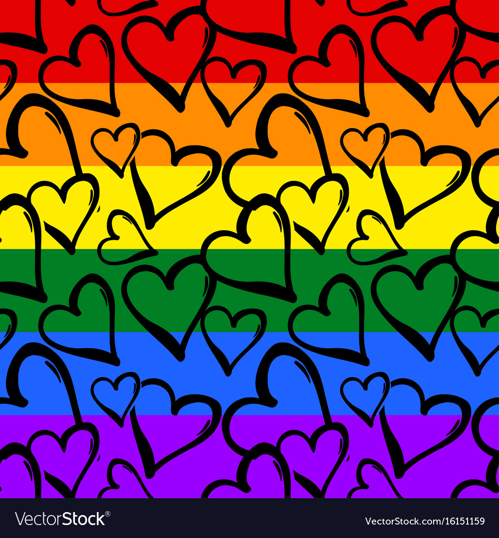 Gay pride rainbow colored hearts seamless pattern