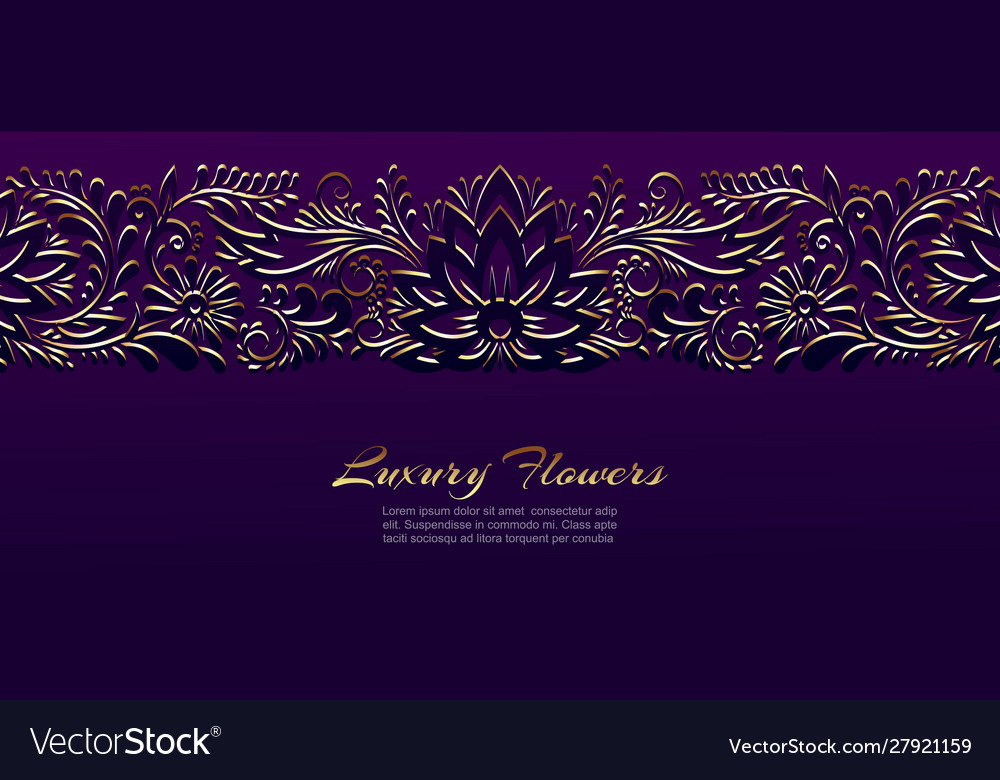Gold floral luxury ornament banner