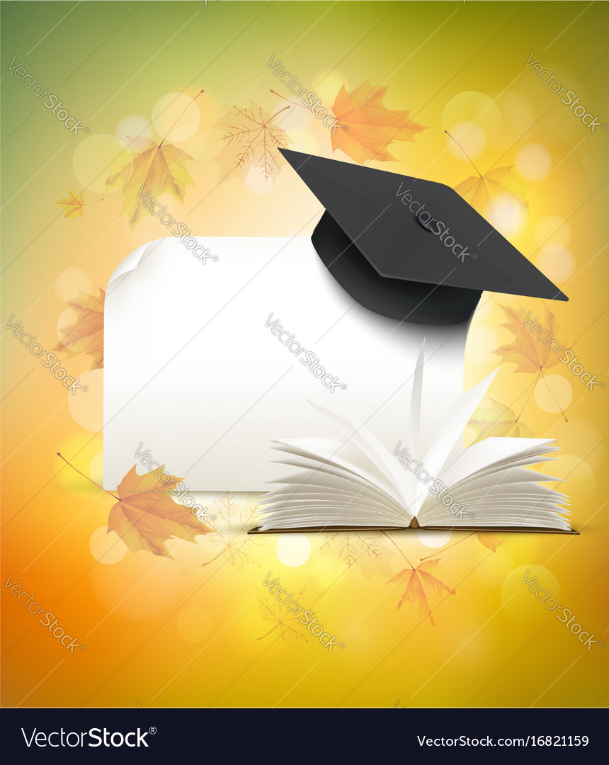 Graduation Cap On Autumn Background With A Book Vector Image