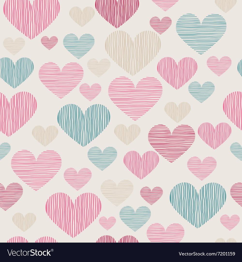 Hand drawn stripped hearts seamless pattern