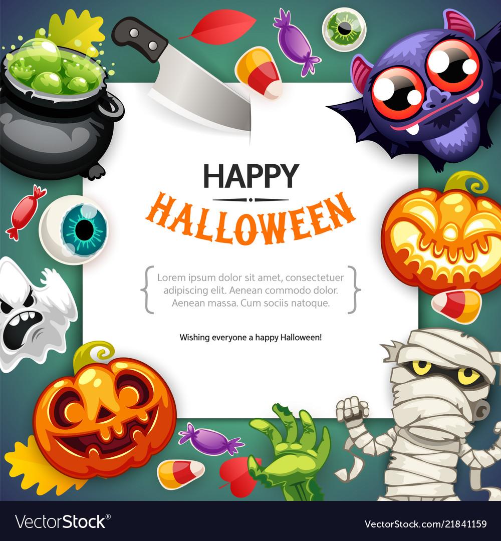 Happy halloween background with copy space dark