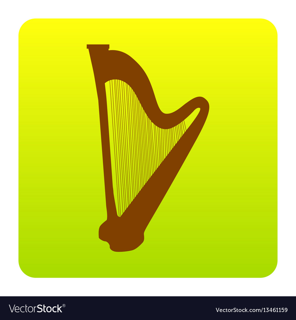 Musical instrument harp sign brown icon