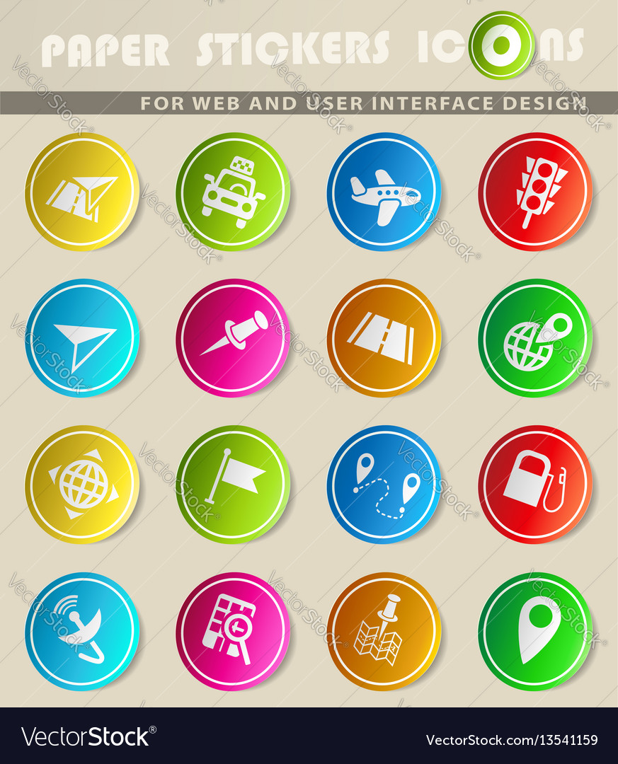 Navigation transport map icon set