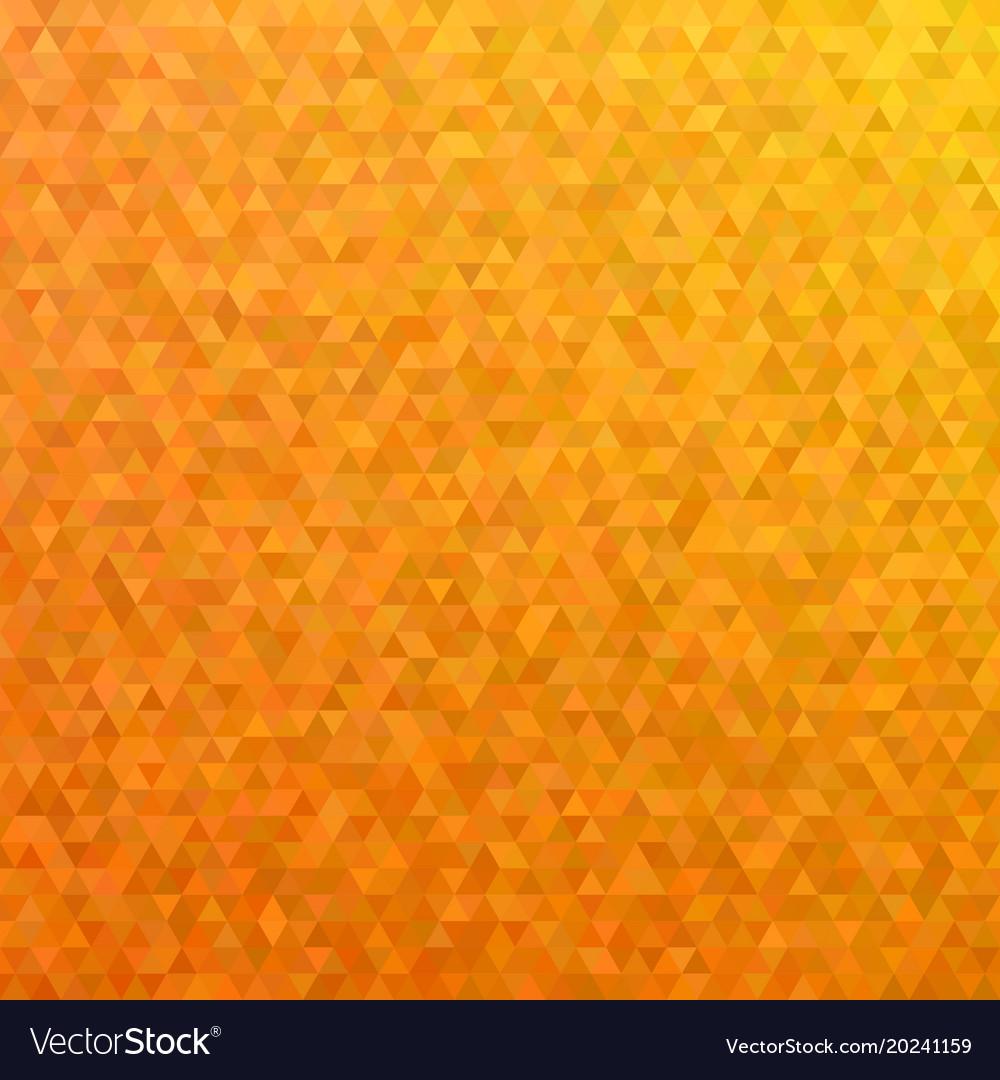 Orange mosaic triangle tile pattern background vector image
