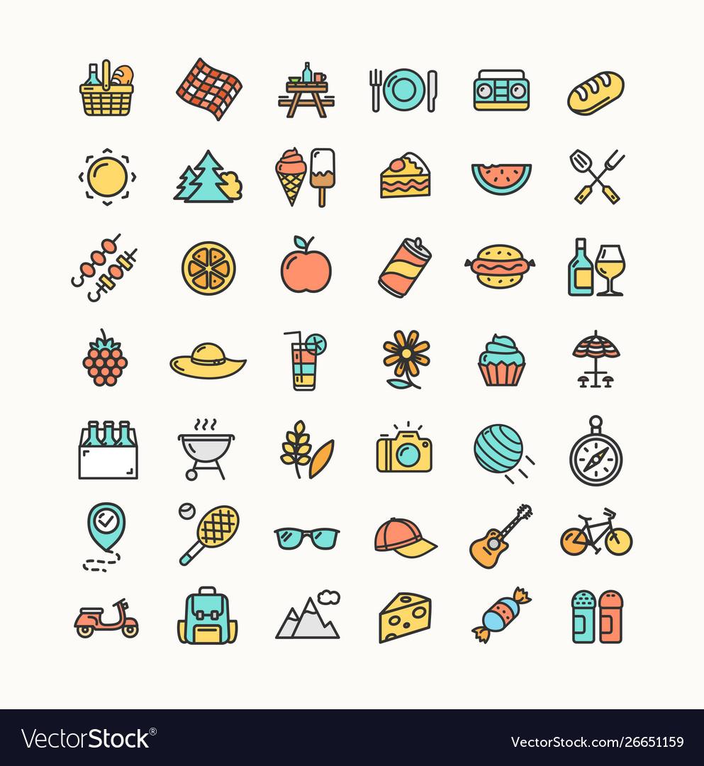 Picnic color thin line icon set