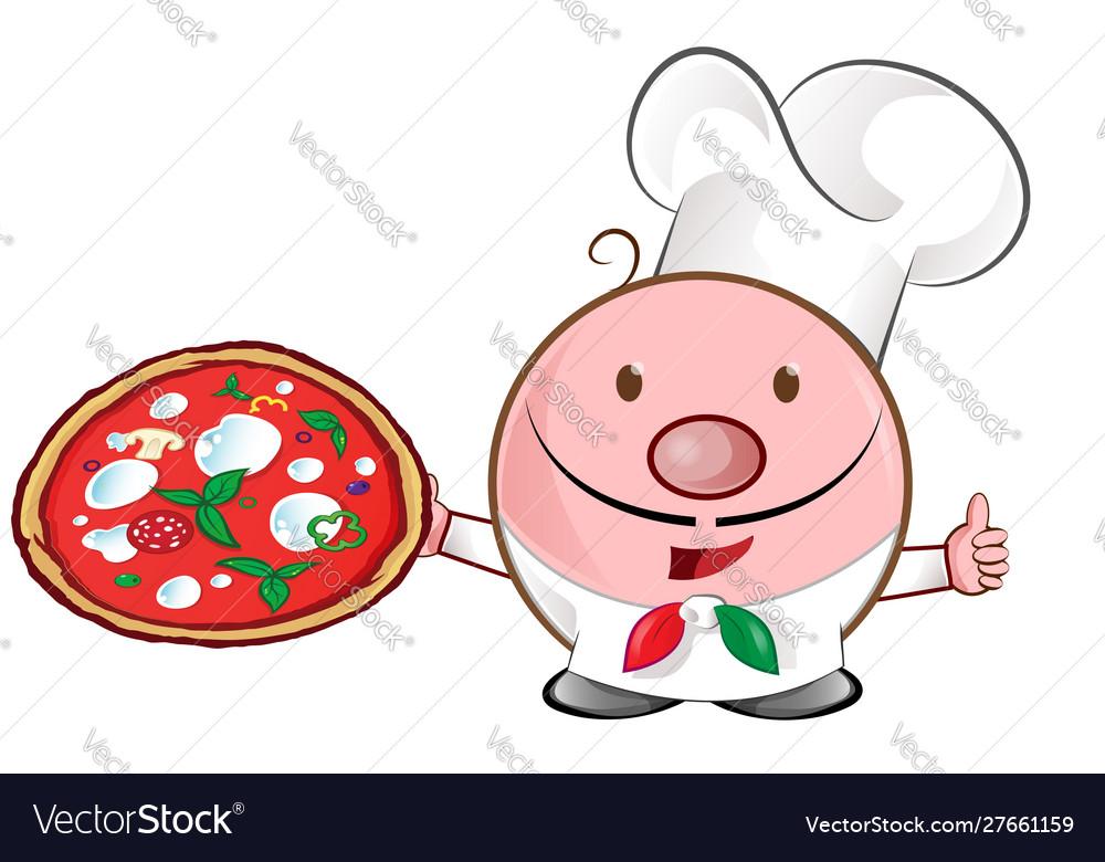Pizza chef mascot cartoon