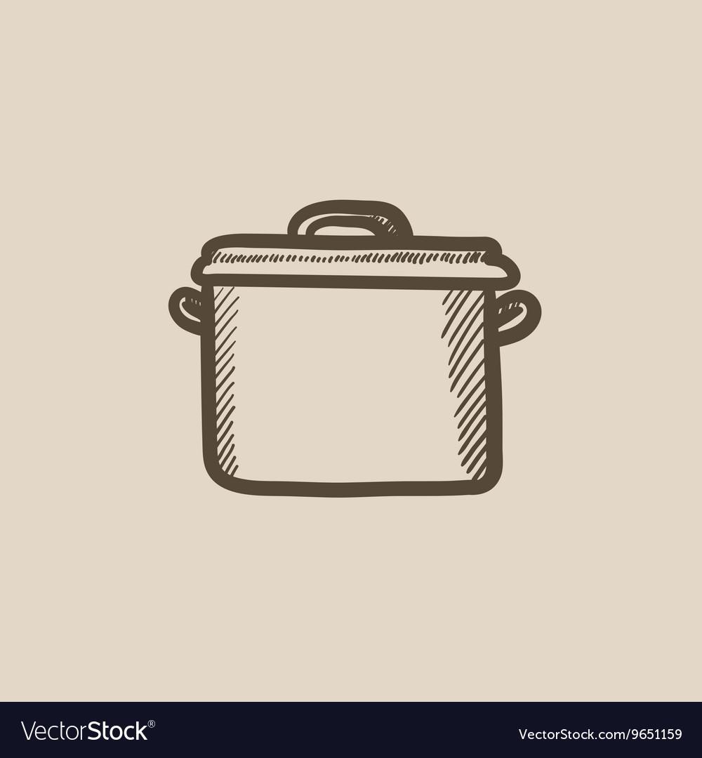 Saucepan sketch icon