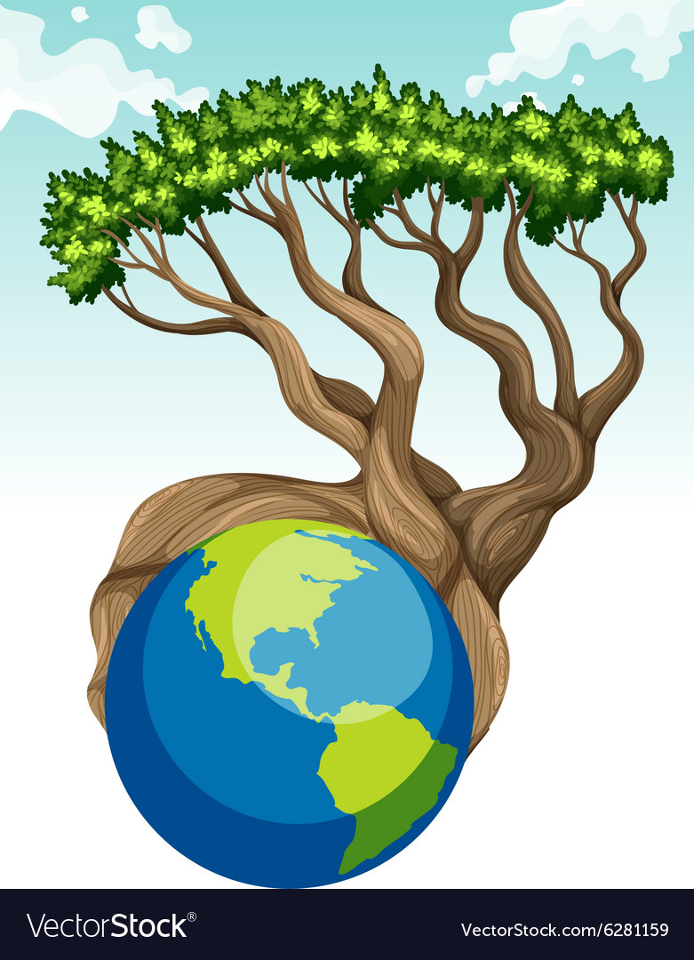 Save the world theme with earth and tree