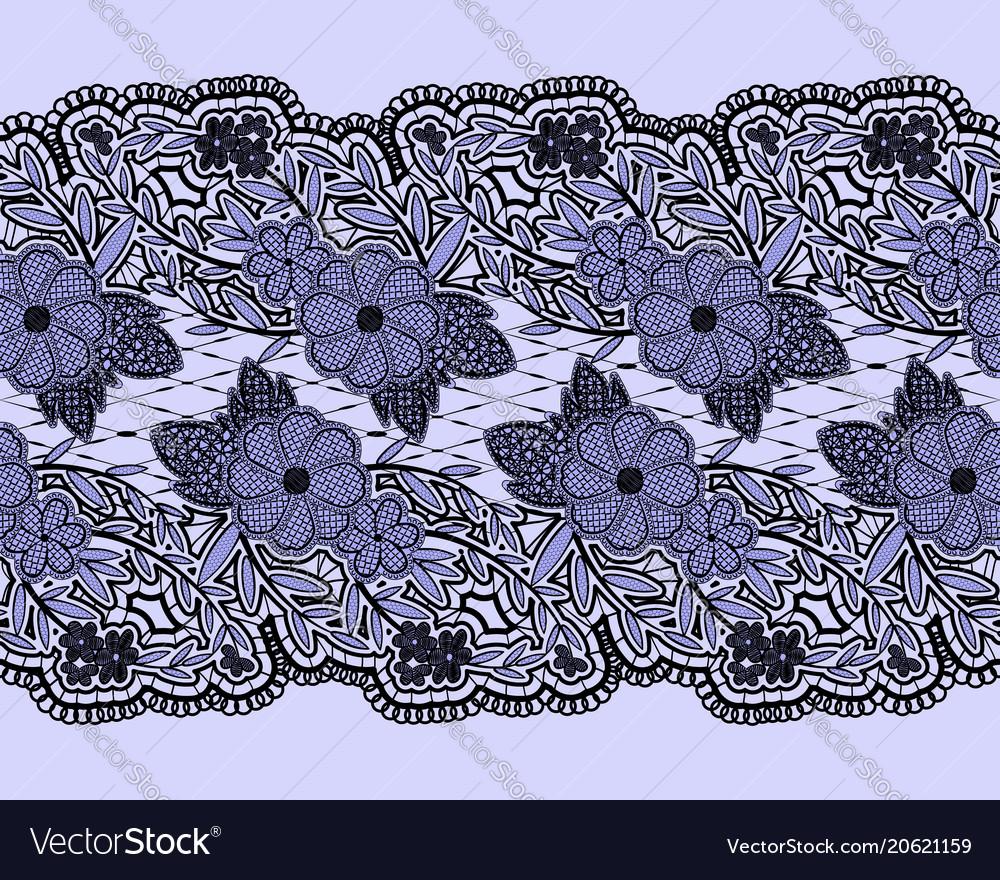 Seamless lace blue textured ribbon horizontal
