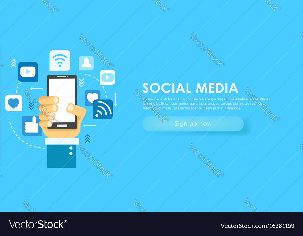 Social media banner phone with icons