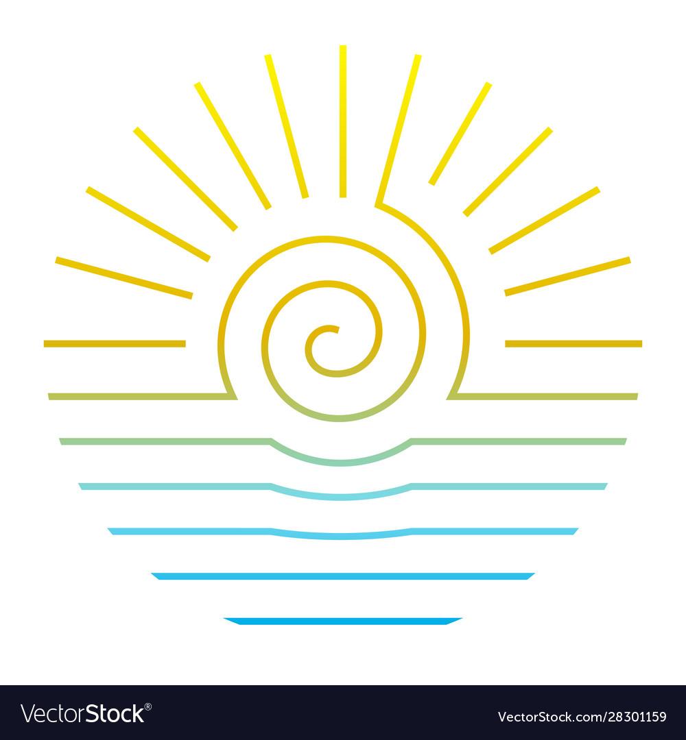 Sun and sea line style round logo on white
