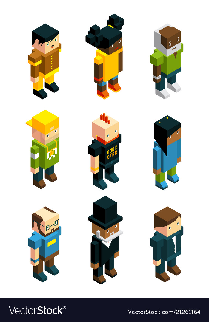Avatars for 3d games isometric low poly people in