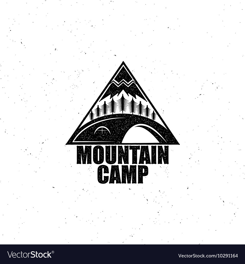 Black emblem with the wood tent and the mountain
