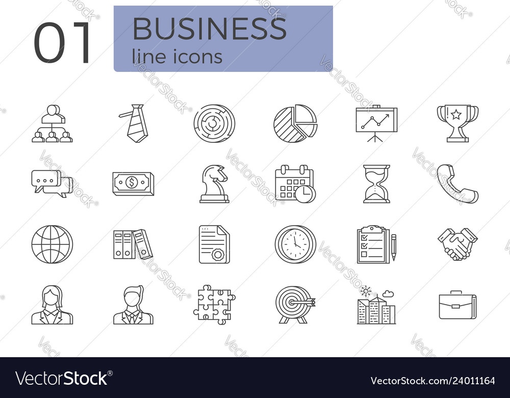 Business related line icons set