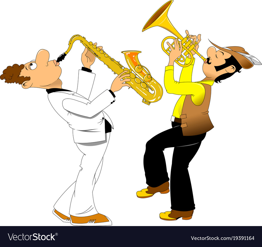 Cheerful trumpeter and saxophonist