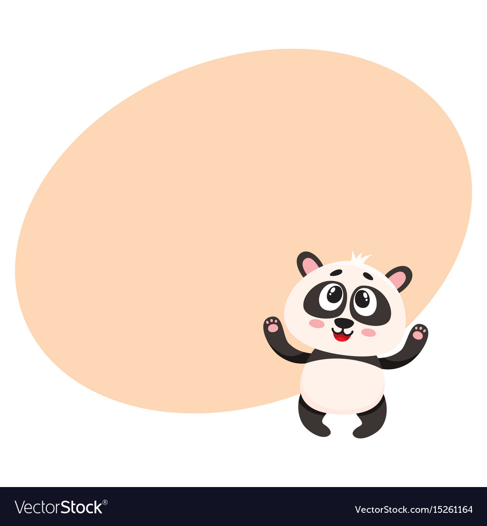 Cute and funny smiling baby panda character