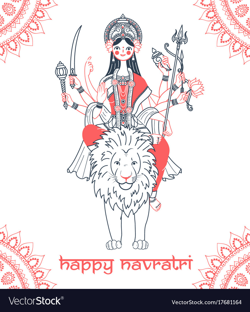 Greeting Card Navratri Goddess Durga Royalty Free Vector
