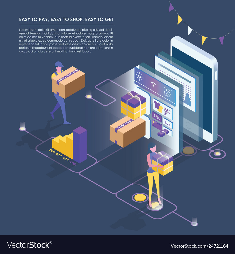 Isometric smart phone online shopping