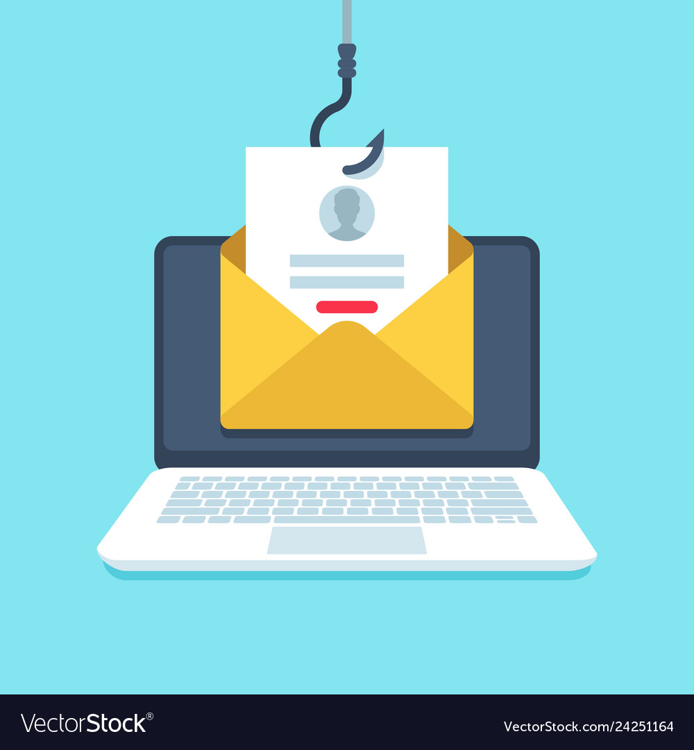 Phishing email forgery login page email on hook