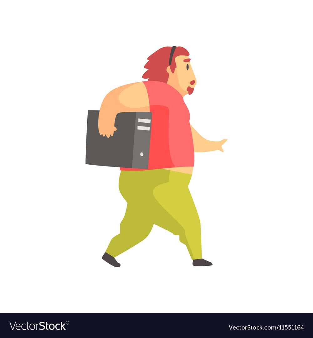 Programmer Walking Holding System Unit Funny vector image